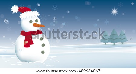 Christmas card with snowman. Vector illustration of a snowman in a snowy landscape. EPS10 file.