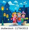 Christmas carol singers theme 3 - vector illustration. - stock vector