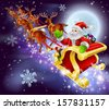 Christmas cartoon illustration of Santa Claus flying in his sled or sleigh through the night sky with moon in the background   - stock photo