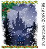 christmas castle, vector illustration - stock photo