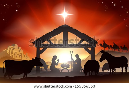 Christmas christian nativity scene with baby jesus in the manger in