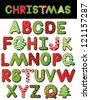 Christmas Cookie Alphabet A through Z Vector EPS 8, isolated on white, no open shapes or paths. - stock photo