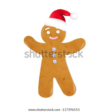 Christmas Cookies With Santa Hat, Isolated On White Background, Vector Illustration