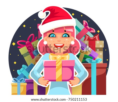 Gift box new year cartoon flat stock vector 524233537 shutterstock christmas cute cartoon hold girl gift box in hands new year pile of gifts background flat negle Gallery
