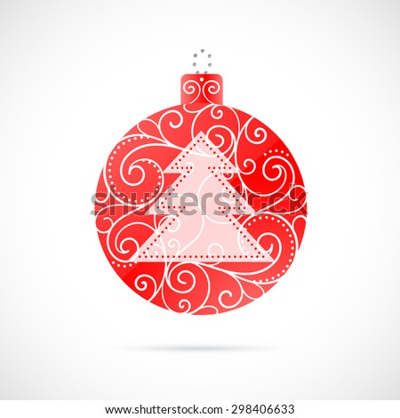 Christmas decoration as symbol for winter holidays. Red Christmas ornament with white Christmas tree and white filigree pattern.