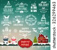 Christmas decoration collection - calligraphic and typographic design with badges, labels, icons, logos and objects elements. - stock vector