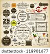 Christmas decoration collection | Set of calligraphic and typographic elements, frames, vintage labels. Ribbons, stickers, Santa and snowman, cracker, gingerbread, mistletoe - all for design. - stock vector