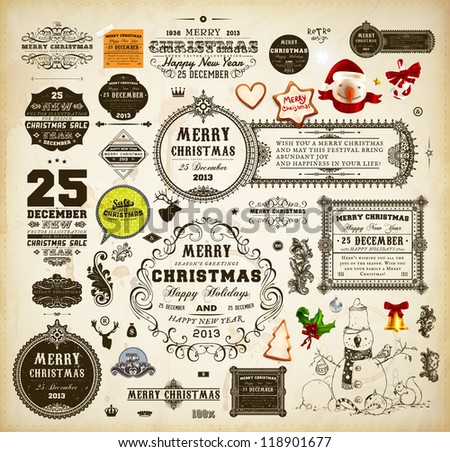 Christmas decoration collection | Set of calligraphic and typographic elements, frames, vintage labels. Ribbons, stickers, Santa and snowman, cracker, gingerbread, mistletoe - all for design.