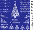 Christmas decoration set - lots of calligraphic elements, bits and pieces to embellish your holiday layouts. Vector illustration - stock vector