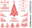 Christmas decoration set - lots of calligraphic elements, bits and pieces to embellish your holiday layouts. Collection of Christmas design elements isolated on White background. Vector illustration - stock vector