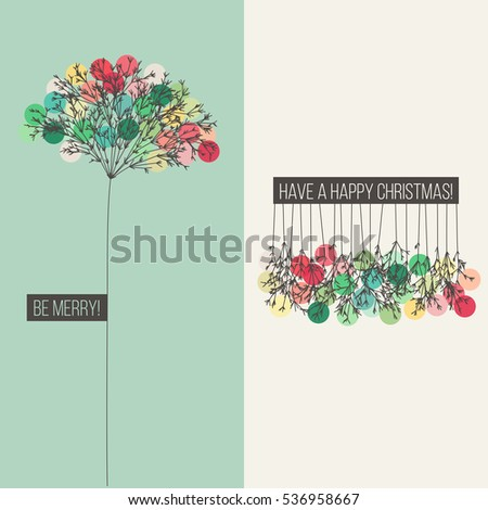 Christmas decoration with pine branches and multicolored Christmas balls