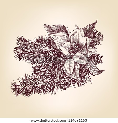 Christmas decorations hand drawn vintage  vector illustration