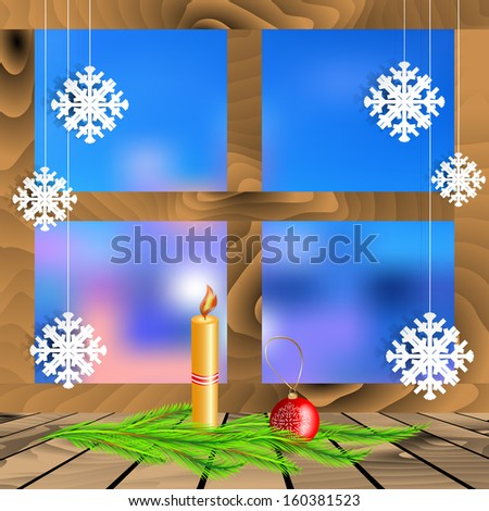 Christmas decorations on a background window.  Card with christmas decorations