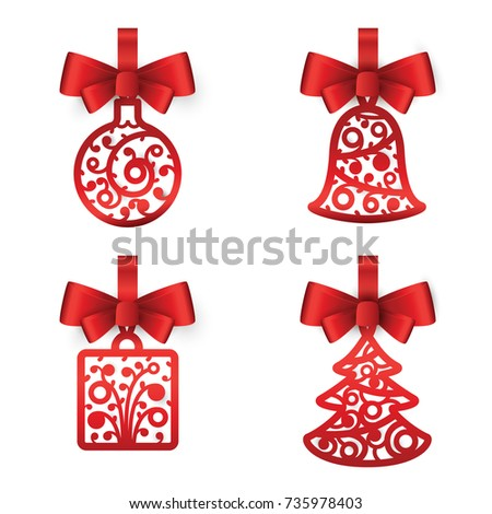 Christmas gift certificate new year gift stock vector 740265631 christmas decorations red ball bell gift christmas tree on a white background negle Choice Image