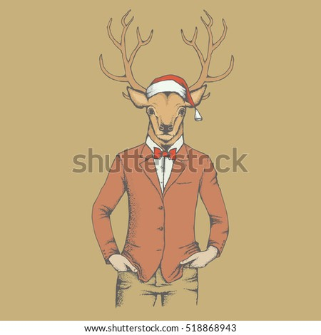 Christmas Deer vector illustration. Reindeer in human suit