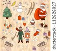 Christmas drawing. Set of vector christmas doodles elements - stock vector