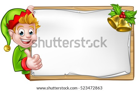 Christmas elf cartoon character peeking around wooden scroll sign with gold bells and holly and giving a thumbs up