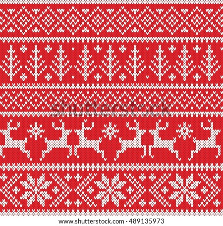 Christmas Winter Knitted Pattern Stock Vector 317381147 - Shutterstock
