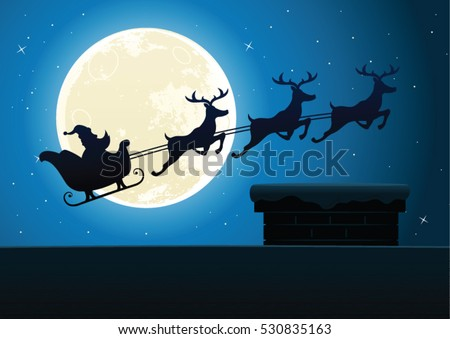 Christmas festive vector background with santa claus and his reindeer