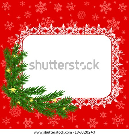 Christmas frame with snowflakes and fir sprig