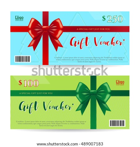 Christmas Gift Card Gift Voucher Template Vector 489007153 – Christmas Gift Vouchers Templates