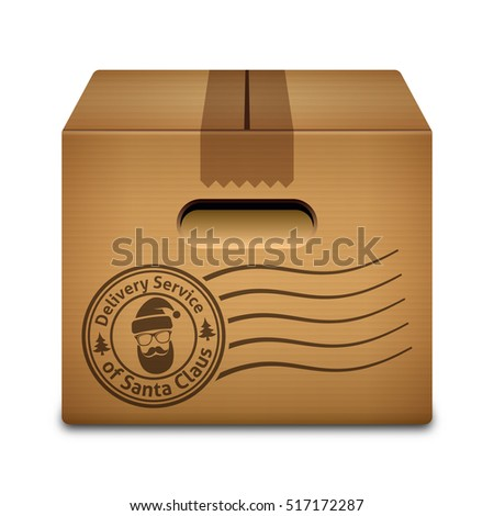 Christmas gift from Santa Claus. Cardboard box with a stamp of the delivery service of Santa Claus