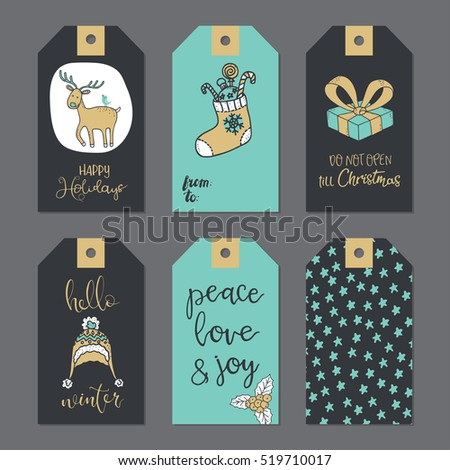 Christmas gift tags set. Vector illustration.