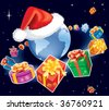 Christmas gifts are flying around earth globe with Santa Claus cap. The base map is from Central Intelligence Agency Web site. - stock vector