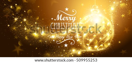 Christmas Gold Ball and flickering lights. Vector illustration