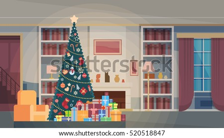 Christmas Green Tree With Gift Box House Interior Decoration Happy New Year Banner Flat Vector Illustration