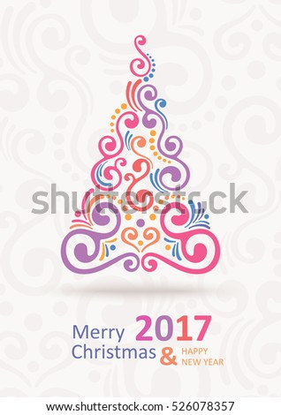 Christmas Greeting Card. Happy New Year. Merry Christmas lettering, vector illustration