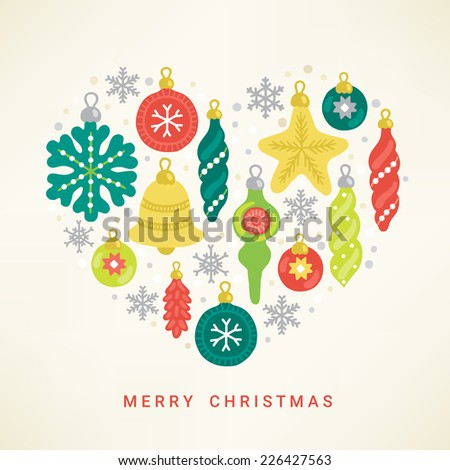Christmas greeting card. Heart with decorations - snowflake, star, balls, baubles, bell