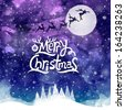Christmas Greeting Card. Merry Christmas lettering. Water color effect illustration - stock