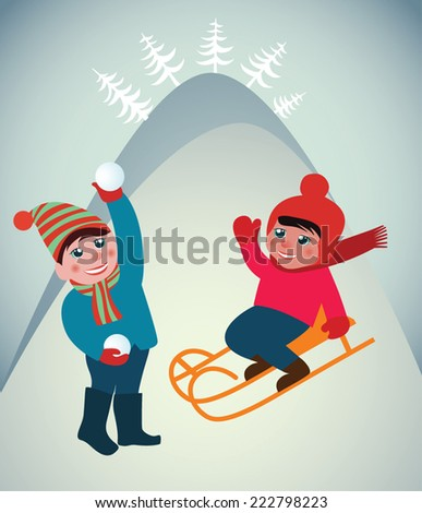 Christmas greeting card. Snow landscape background with children.