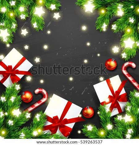 Christmas greeting card with gift box, Glowing star Lights, candy cane . Happy new year. Xmas vector background