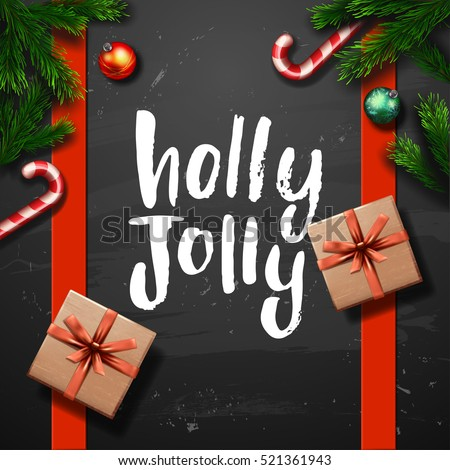 Christmas greeting card with gift box . Happy new year. Xmas vector background. Hand drawn calligraphy. concept handwritten Holly Jolly