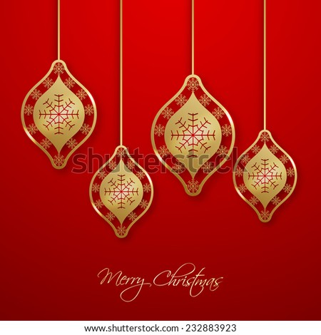 Christmas greeting card with hanging snowflakes.