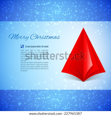 Christmas greeting card with red paper Christmas tree over sparkling background