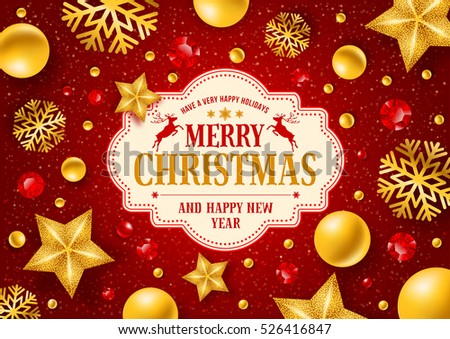 Christmas greeting card with type design and decorations on the red background. Vector illustration.