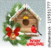Christmas greeting card with wooden birdhouse - stock vector