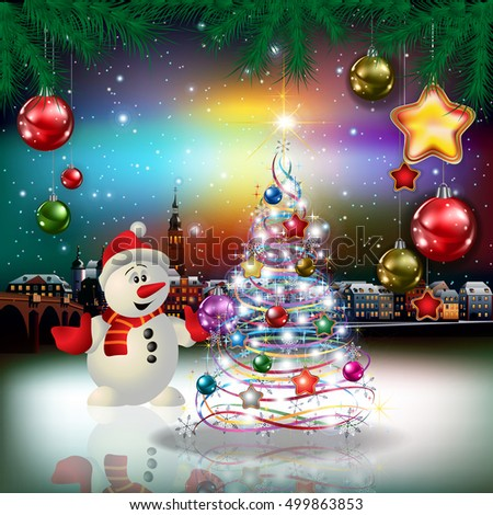 Christmas greeting with panorama of old city and snowman
