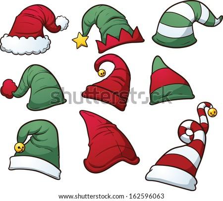 Christmas Hats Clip Art Vector Cartoon Stock Vector 162596063 ...