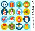 Christmas holiday decoration icons set with snowflake gift box pine tree isolated vector illustration - stock photo