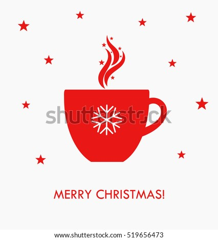 Christmas hot coffee in red cup. Vector illustration