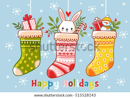 Christmas illustration with christmas socks and gifts in them. Inscription happy holidays on a blue background. Vector illustration. Cute illustration in a children's style.