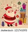 Christmas illustration with funny Santa Claus - stock vector