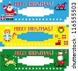 Christmas labels with different funny season pixel characters.Web banners set - stock vector
