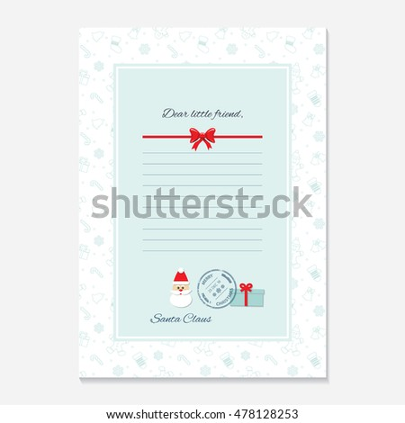 Christmas Letter Santa Claus Template Layout Vector – Xmas Letter Template