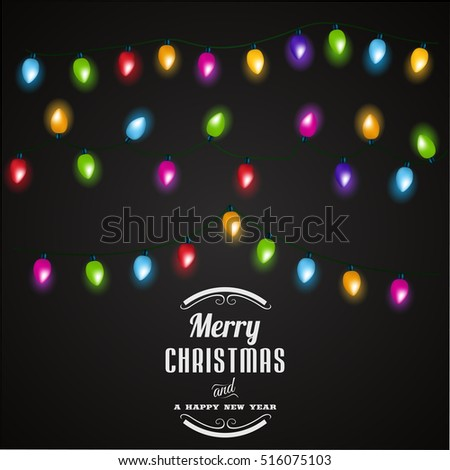 Christmas lights background.Vector