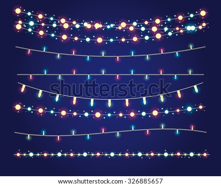 christmas lights festive decorations. vector set eps10